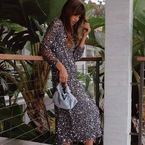 Zara Sequined mesh dress NWT